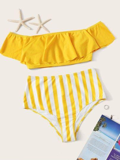 96e7068ef740d Floaty Bardot Top With Striped High Waist Bikini