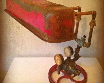 Found Object Upcycled Industrial Lamp Sculpture by RetroSteamWorks