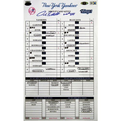 Andy Pettitte Signed and Inscribed w/ Win #255 Yankees at Blue Jays 8-27-2013 Game Used Lineup Card (MLB Auth) (EK661377). Andy Pettitte personally hand-signed this game-used line-up card from his 255th career big league victory. This Pettitte autograph is guaranteed and comes complete with MLB Authentication. You can look it up in the MLB Database using number: EK661377. On August 27th 2013 Pettitte took the mound at the Rogers Centre and pitched seven scoreless innings.