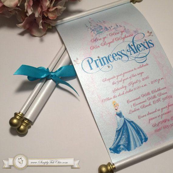 Best 25 Scroll invitation ideas – Princess Scroll Birthday Invitations