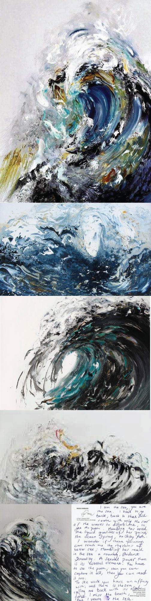 """I try to paint the sound of the sea"" Oohh I think she did it well to ! -  See more at: http://www.curiouspeeps.net/feature/maggi-hambling"
