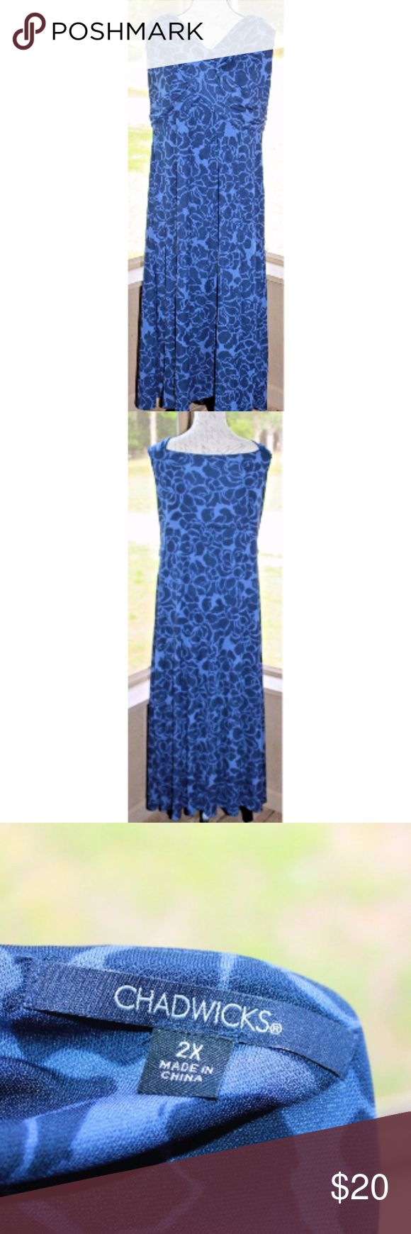 """Chadwicks Plus Size 2X Sleeveless Blue Maxi Dress Chadwicks Women's Plus Size 2X Sleeveless Blue Maxi Dress EUC XXL Floral   This dress is in excellent, used condition. No holes, stains, tears or smelly things!  :)  Measurements are taken while the dress is laying flat:  PIT to PIT:  23""""  Dress Length:  48""""     Non-Smoking Home Non-Pet Home Please message me with any questions  Good Luck & Happy Bidding! Chadwicks Dresses Maxi"""