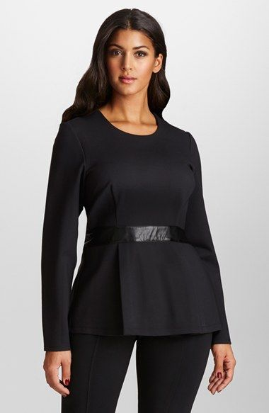 Free shipping and returns on Mynt 1792 Faux Leather Trim Ponte Peplum Top (Plus Size) at Nordstrom.com. A tailored fit with a pleated peplum hem creates hourglass curves for a stretch-ponte knit top cut with long sleeves and finished with a faux-leather waistband.