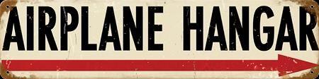 """$16.95. Vintage metal """"airplane hangar"""" sign."""