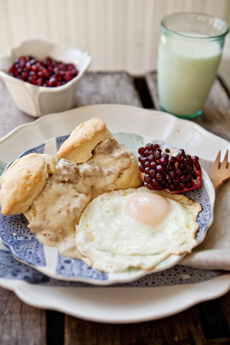 Cream biscuits and sausage gravy recipe via @Shaina Olmanson | Food for My Family