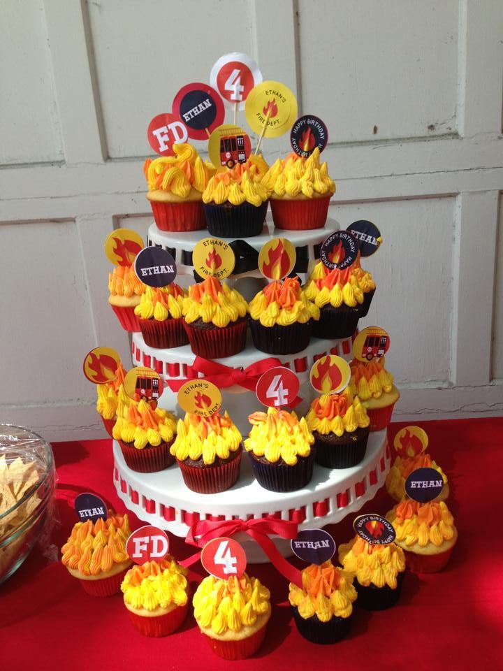 """Cupcakes for my 4 year old's """"Firetruck"""" birthday party."""