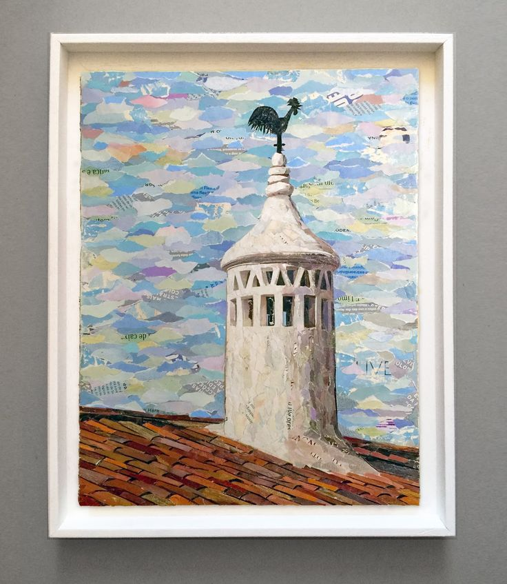 CHAMINÉ - ALGARVE / 100% collage / paper on plywood / 30 x 40cm /  (framed 36 x…