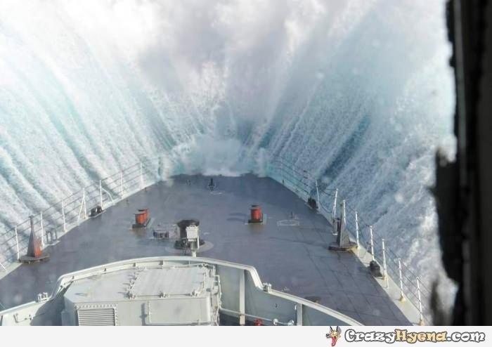 Ship going through a sea storm