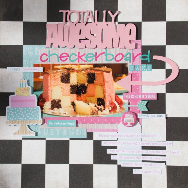 A2Z Scraplets: Totally awesome checkerboard cake - December A2Z Papercraft Challenge sample by Judith Armstrong