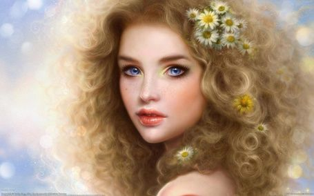 Девушка с ромашками в волосах