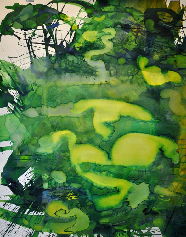 Multichrome Painting – Lemon Yellow & Emerald 2012  152x122cm Ink and pigment on paper