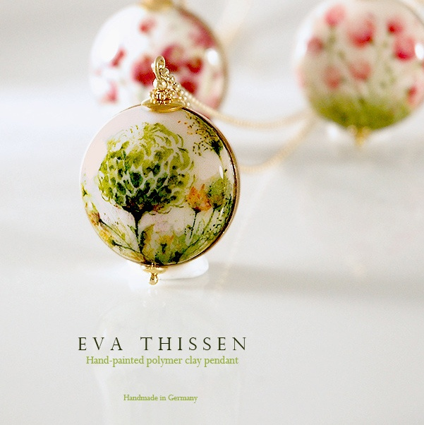 PEONY Original signed wearable art. Hand painted polymer clay pendant by Eva Thissen Gallery, via Flickr