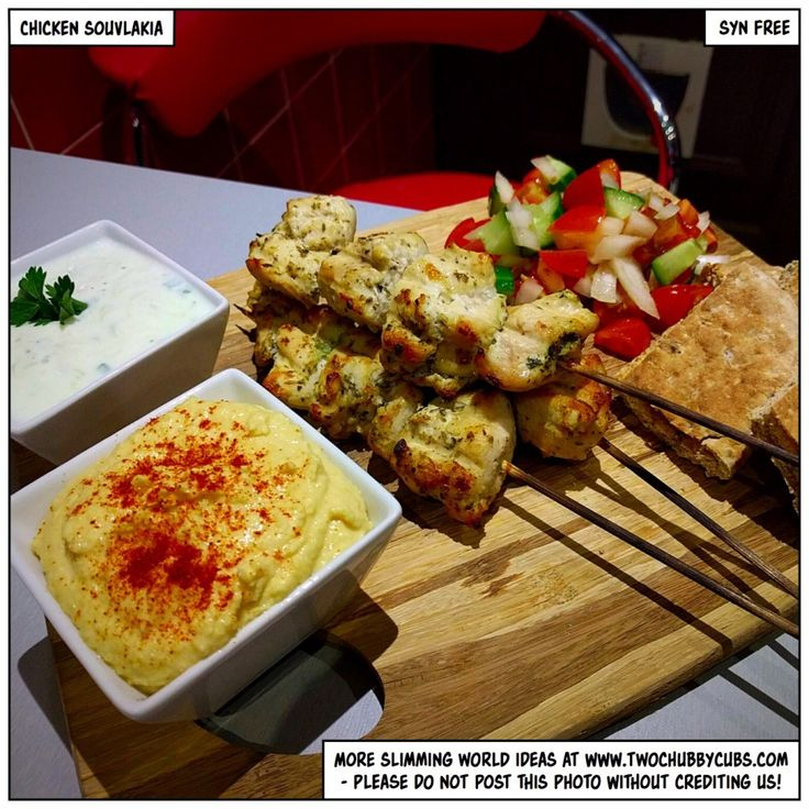 twochubbycubs.com chicken souvlakia Might be a SW recipe, but I haven't seen a better one anywhere, including the salad & dips ... :)