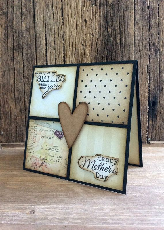 Handmade Mother's Day card Rustic  by Crafting Emotion