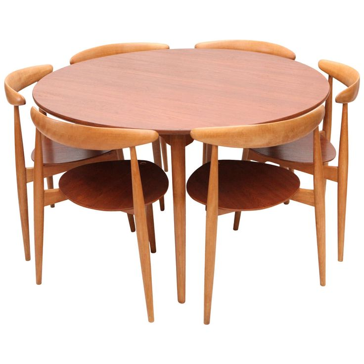 Hans wegner three leg table with matching three leg chairs for X leg dining room table