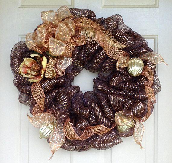 Copper Elegance Fall Wreath Acorn Wreath Fall Wreath