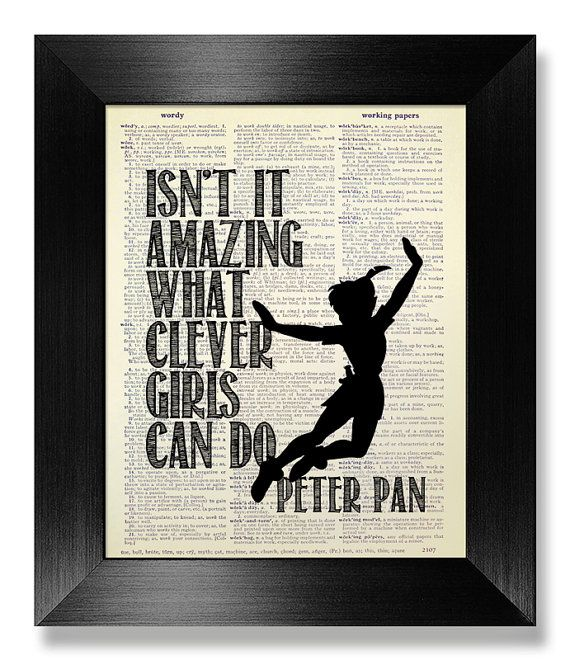 INSPIRATIONAL Quote Print Typographic Art, College DORM Decor Graduation GIFT Him Man Boy, Disney Movie Poster Minimalist Peter Pan Wall Art