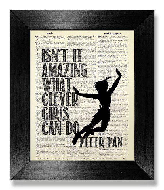 INSPIRATIONAL Quote Print Typographic Art, College DORM Decor Graduation GIFT Him Man Boy, Disney Movie Poster Minimalist Peter Pan Wall Art
