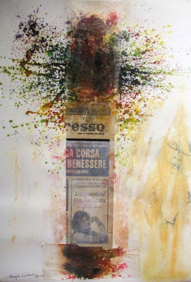Omaggio al cinema e a Visconti  cm 100x70 Tecnica: décollage, inchiostri, colori acrilici e pastelli su cartoncino