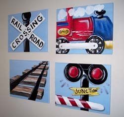 In a big boy train themed bedroom