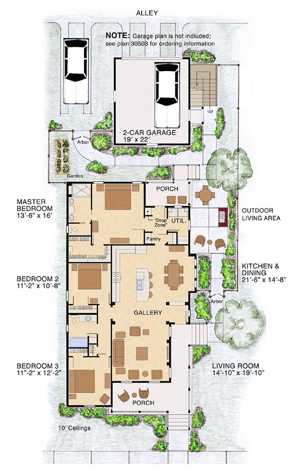 Best 25 narrow lot house plans ideas on pinterest for Bungalow house plans for narrow lots