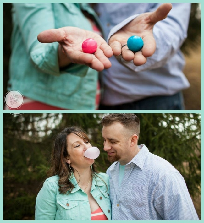 cute idea! bubble gum gender reveal photo session! A. Meyer Photography (Fort Wayne, Valparaiso, Northern Indiana)