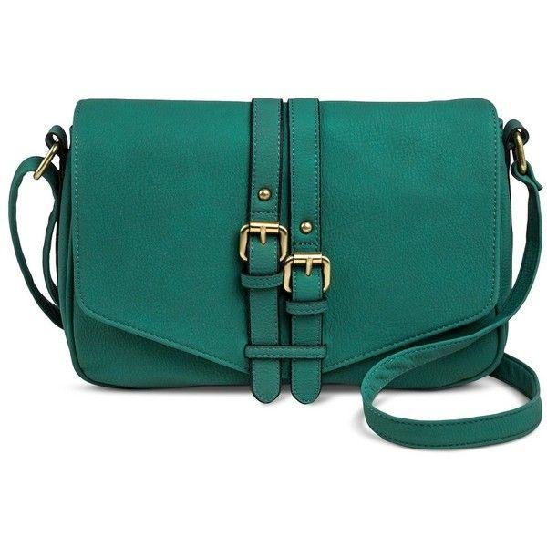 Women S Vertical Buckle Detail Crossbody Handbag Green Merona Found On Polyvore Featuring Bags Handbags Shoulder