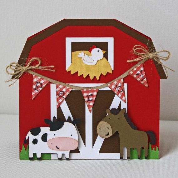 Farm Birthday Card - Cow, Horse, and Chicken Farm birthday card on Etsy, $5.00