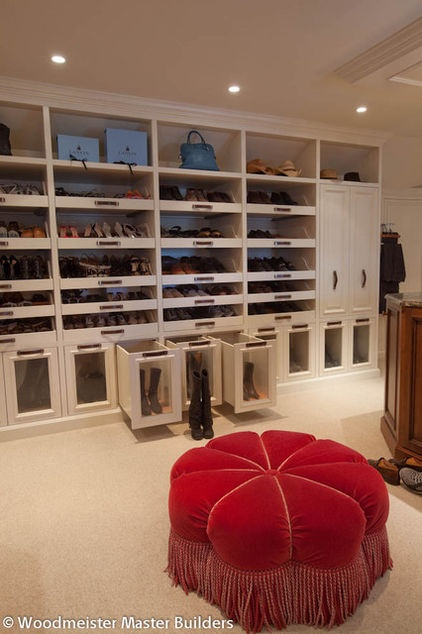 If a custom master suite with loads of storage is within your budget, have your builder make room for your boots with pullout shoe shelves.