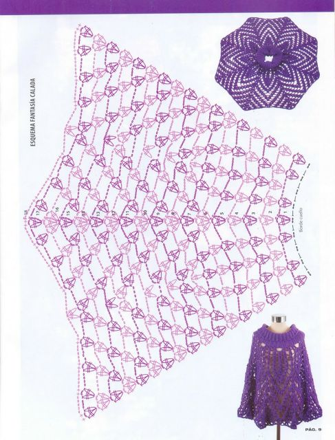 352 best CHAL/ PONCHO/ 1 images on Pinterest | Crochet clothes ...