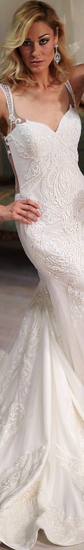 Sarah Jassir Bridal 2018 sleeveless illusion straps sweetheart heavily embellished wedding dress maya chapel train elegant
