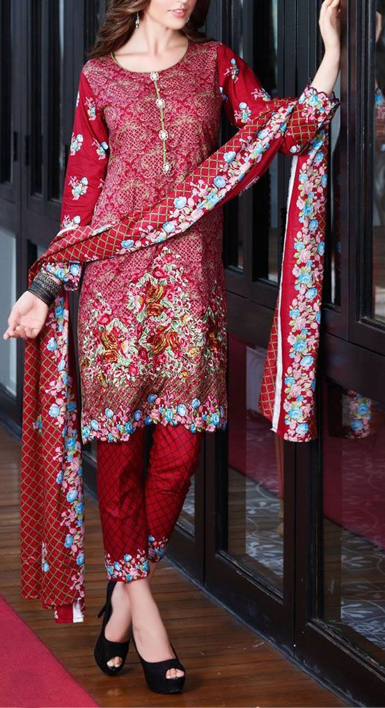 Buy Deep Red Embroidered Cotton #LawnDress by Mahnoor 2016