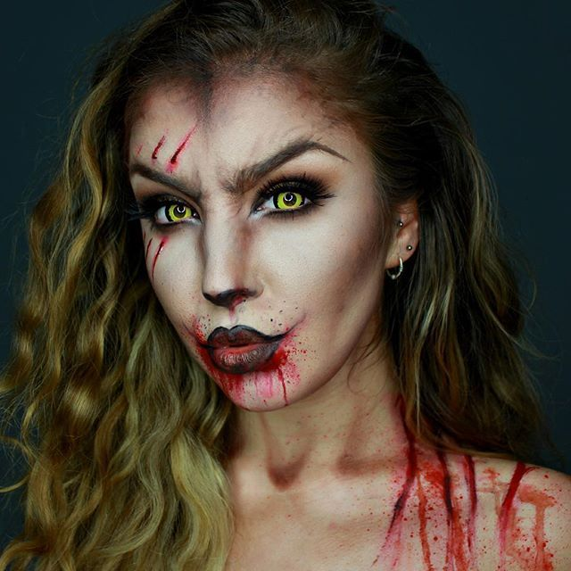 Glam Wolf A gore twist on @chrisspy wolf, using @mehronmakeup Paradise Paints, @lorealmakeup Infallible Foundation, @ohmykittydotcom contacts and @makeuprevolution eyeshadows and Halloween makeup!❤️