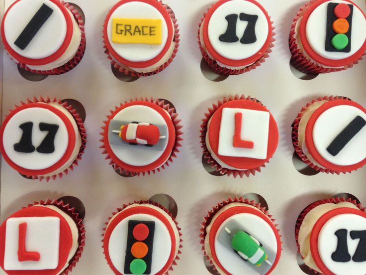 Learner Driver Cupcake Toppers - fondant cupcake toppers uk by TheCakeTopCompany on Etsy https://www.etsy.com/listing/243811681/learner-driver-cupcake-toppers-fondant