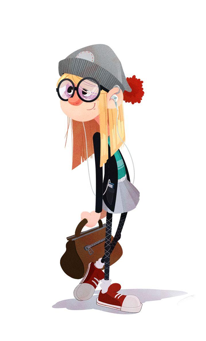 Мультяшная картинка девушки в очках