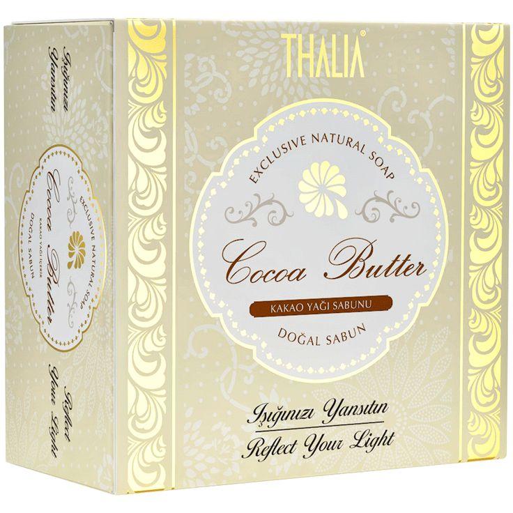 Thalia Cocoa Butter sabunu cildinizi kakao yağının hızlı emilimi ile yoğun bir biçimde nemlendirir, antioksidan bakımından zengindir, kuru ciltlerin vazgeçilmezidir, yumuşatır ve esnekleştirir. #kakaoyağı #nemlendirici #thalia #thaliasabun #katısabun #sabunlar #cilt #ciltbakım #doğal #doğalsabun #besleyici
