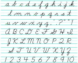 Cursive, also known as script, joined-up writing, joint writing, running writing, or handwriting is any style of penmanship in which the sym...