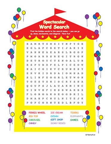 Circus Tent Word Search (Printable Activity for Kids) | Spoonful