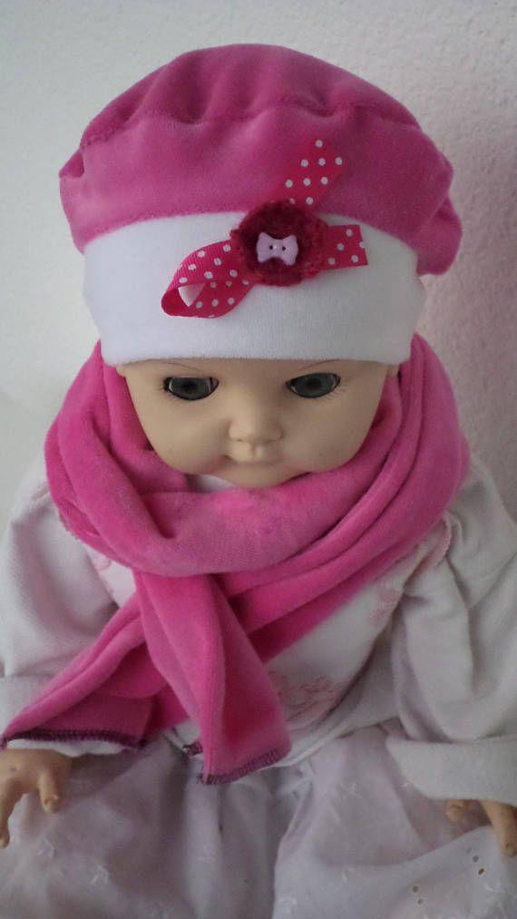 bonnet béret chapeau bébé écharpe lin eva jersey coton blanc et fuchsia  velours 80f0521ffe8