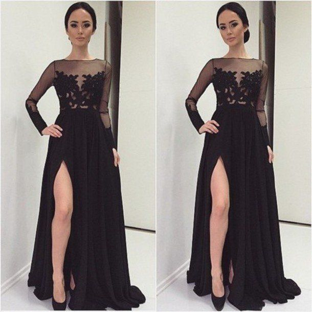 Black Prom Dresses With Slit And Long Sleeves pst0690 b6c9933276e4