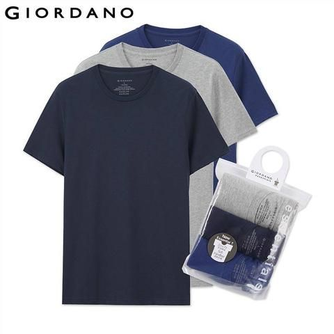 Giordano Men T-shirt Short Sleeves 3-pack Undershirt Male Solid Cotton Mens Tee Summer Jersey Brand Clothing Sous Vetement Homme