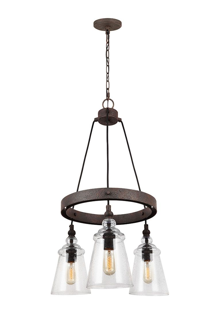 Loras 3 -Light Chandelier by Feiss: Contemporary take on historic, industrial designs. Feature multiple corded pendants beautifully suspended on to a Dark Weathered round Iron-finished frame. Clear seeded glass shades add more rustic charm to this traditional vintage-inspired silhouette, and the black fabric cord adds a clean, contemporary design. Through the clear glass shades, the exposed bulbs are central to the design theme. Smaller size is perfect for your kitchen, dining room, or…