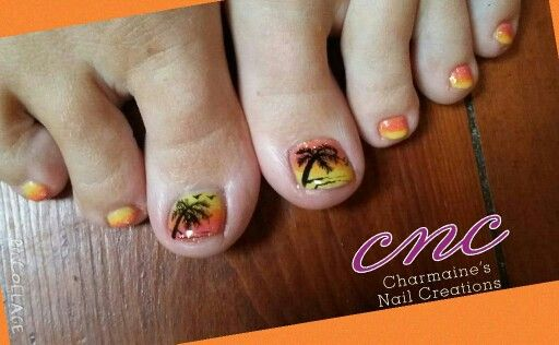 Tropical holiday toes orange yellow glitter palm trees hand painted