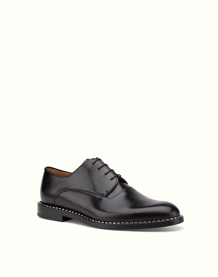 FENDI LACE-UPS - in black leather with metallic stitching