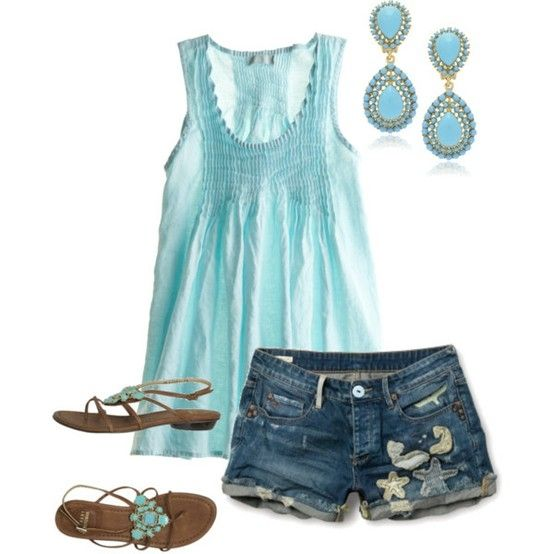 Summer Outfit...would wear lighter earrings when it's really hot, but love the appliques on the shorts!