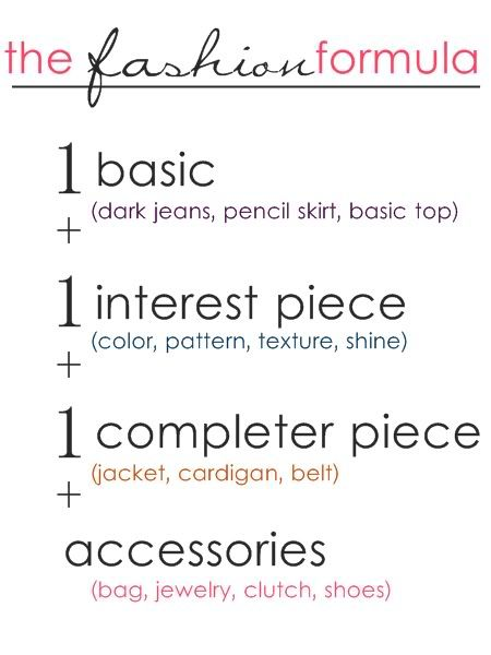 Fashion formula - Winter edition - Such easy and simple tips. Do you have a hard time figuring out how to pair things up?