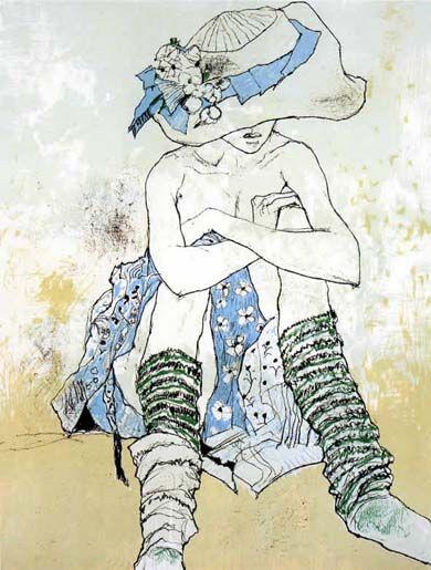 "Hovhannes Semerdjian known as Jean Jansem, Bursa, Turkey (1920). French-Armenian painter. ""Chapeau au ruban bleu""."