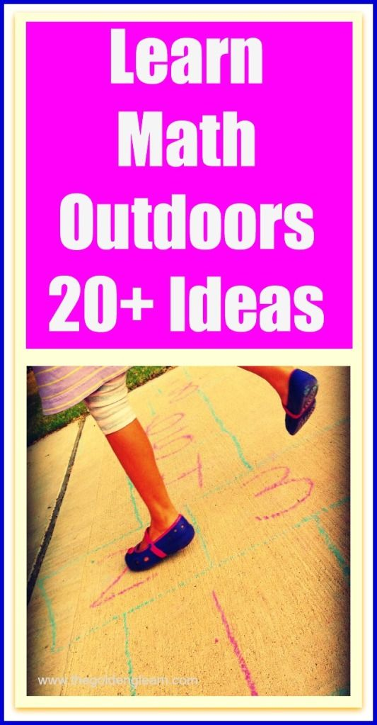 Outdoor math ideas. Get kids up and moving outside, while they brush up on those math skills!
