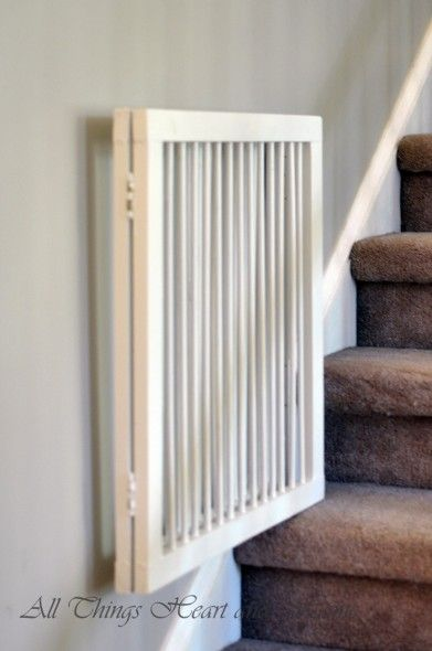 making a folding baby (or in our case, kitty) gate for stairs--from All Things Heart and Home
