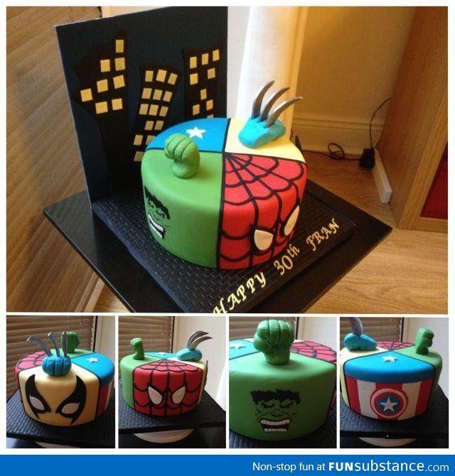 Marvel Super Hero Cake hmmm idea for macs bday
